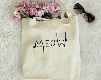 Cat Mom Tote Bag, Canvas Tote Bag, Custom Tote Bag, Cat Mom Gift, Cat Lover Bag, Gift For Her, Cat Lady Bag