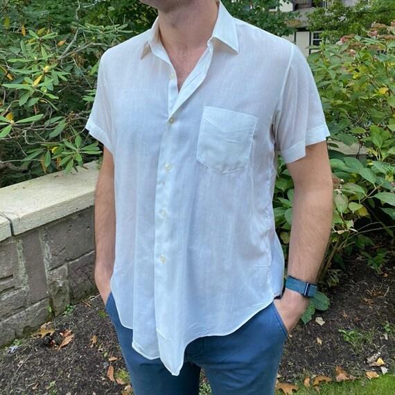 Vintage men's 1950s cotton button down work shirt,