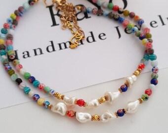 Millifiori Pearl Necklace/Millifiori Choker/y2k Choker Necklace/Minimalist Jewelry/Layering Necklace/italian Murano Choker/90s style Choker