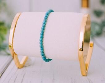 Raw Turquoise Bracelet for Women & Men - Beaded Turquoise Bracelets - Natural Tumbled Turquoise Bracelet - 9mm Stretchable Bracelets