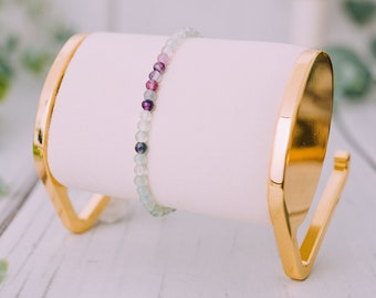 Raw Fluorite Bracelet for Women & Men - Beaded  Fluorite Bracelets - Natural Tumbled  Fluorite Bracelet - 9mm Stretchable Bracelets
