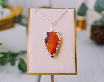 Silver Plated Carnelian Arrowheads Necklaces - Carnelian Silver Necklace Pendant - Carnelian Crystal Necklace - Crystal Jewelry Necklaces