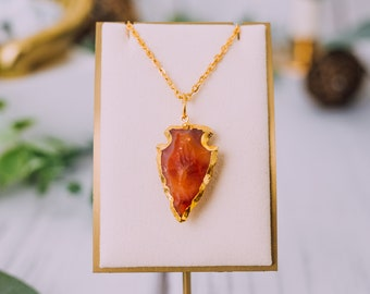 Gold Plated Carnelian Arrowheads Necklaces - Carnelian Gold Necklace Pendant - Carnelian Crystal Necklace - Crystal Jewelry Necklaces