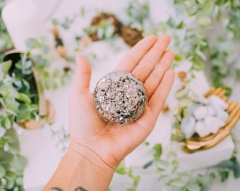 Large Pyrite Sphere - Extra Quality Grade Large Pyrite Druzy - Fools Gold - Raw Pyrite Clusters - Iron Pyrite - Healing Crystals