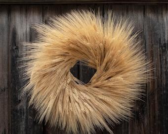 "18"" Dried Fall Wheat Wreath"
