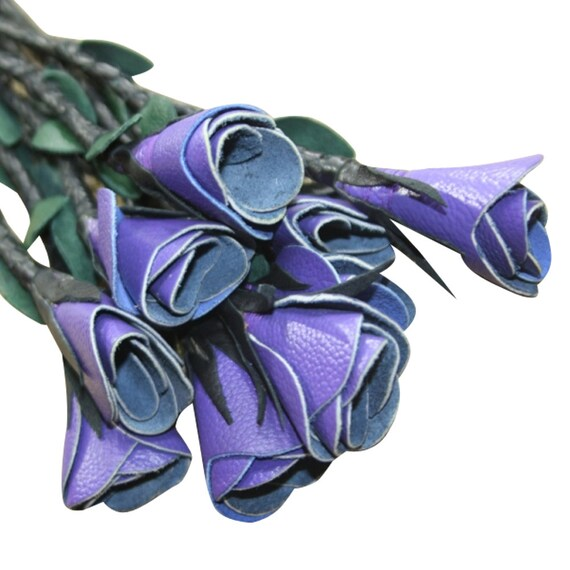 Cow Hide Leather Flogger Purple Rose Black Wood Handle Whip Cat o Nine Tails