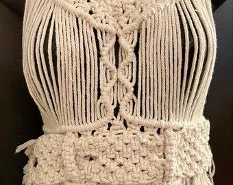Original beige women\u2019s small-medium macrame top