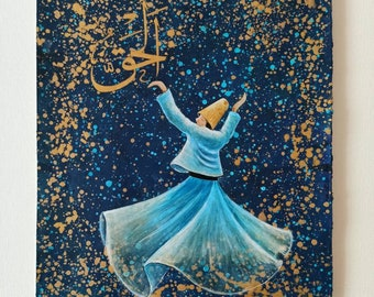 Islamic Wall Art on Canvas ORIGINAL Textured Whirling Dervish Painting