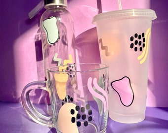 Drinkware set, glass waterbottle, glass mug and Starbucks style plastic straw cup, pastel colours, matching set of 3, iced coffee cup