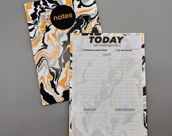 A5 daily to do list desk pad and notebook matching set (Black & yellow swirl pattern, 70s pattern, psychedelic pattern) isolation gift