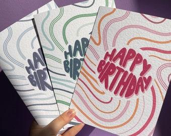 Swirl pattern premium birthday card, A5 card, pink, purple and blue pattern, set of 3 birthday cards