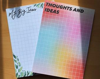 A6 desk pad, leaf desk pad, rainbow desk pad, notepad, desk planner, jot pad, ideas pad, my big ideas, thoughts and ideas A6 pad