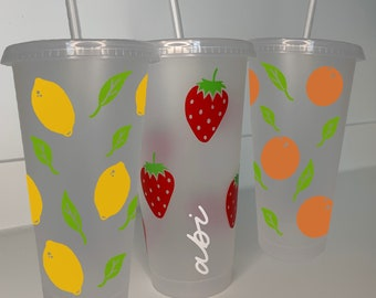 Plastic starbucks STYLE straw cup, clear plastic tumbler, 24oz, strawberries, lemons, oranges, iced coffee cup, personalised straw cup