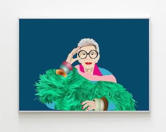 Iris Apfel Fashion Designer Digital Illustration Wall Print