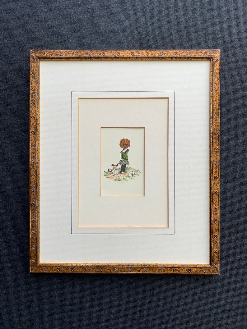 retro French print vintage ornate rusty-gold wood frame gilded. French miniature print..11x9 girl and puppy coloured ink drawing