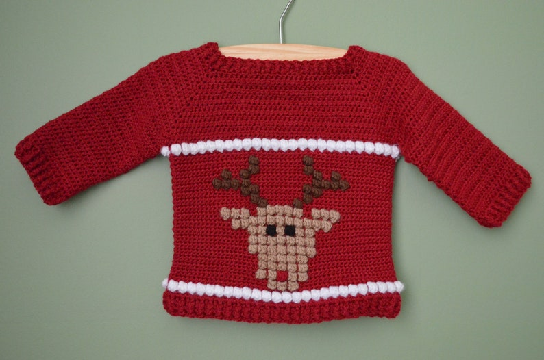 Christmas Baby sweater CROCHET PATTERN up to 12 months Baby image 0
