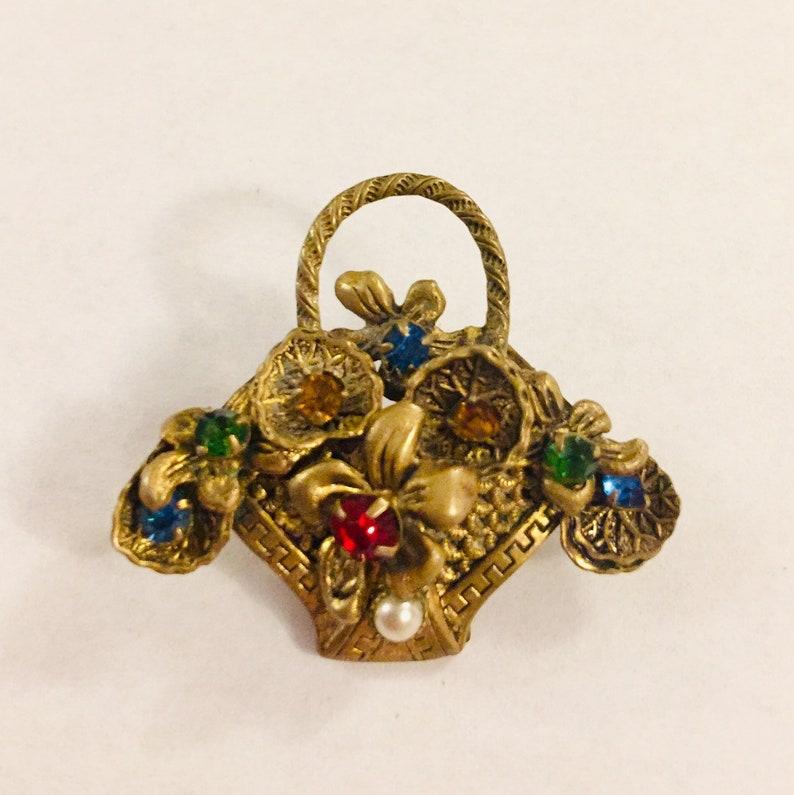 Victorian Rhinestone Flower Basket Brooch