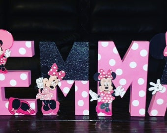 Minnie Mouse Custom Made Letters with Black Glitter, Minnie Mouse birthday theme, Minnie Mouse