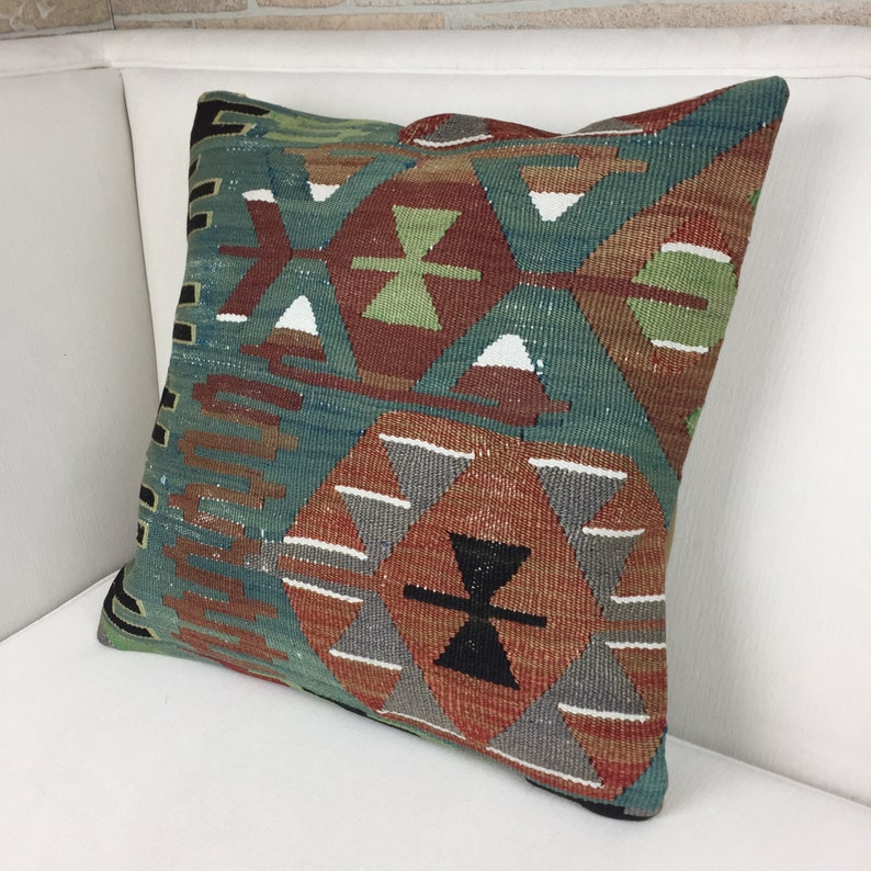 Cushion Cover Throw Pillow Vintage Kilim Pillow Tribal Pillow 20x20 Kilim Pillow Handwoven Turkish Kilim Pillow Bohemian Kilim Pillow