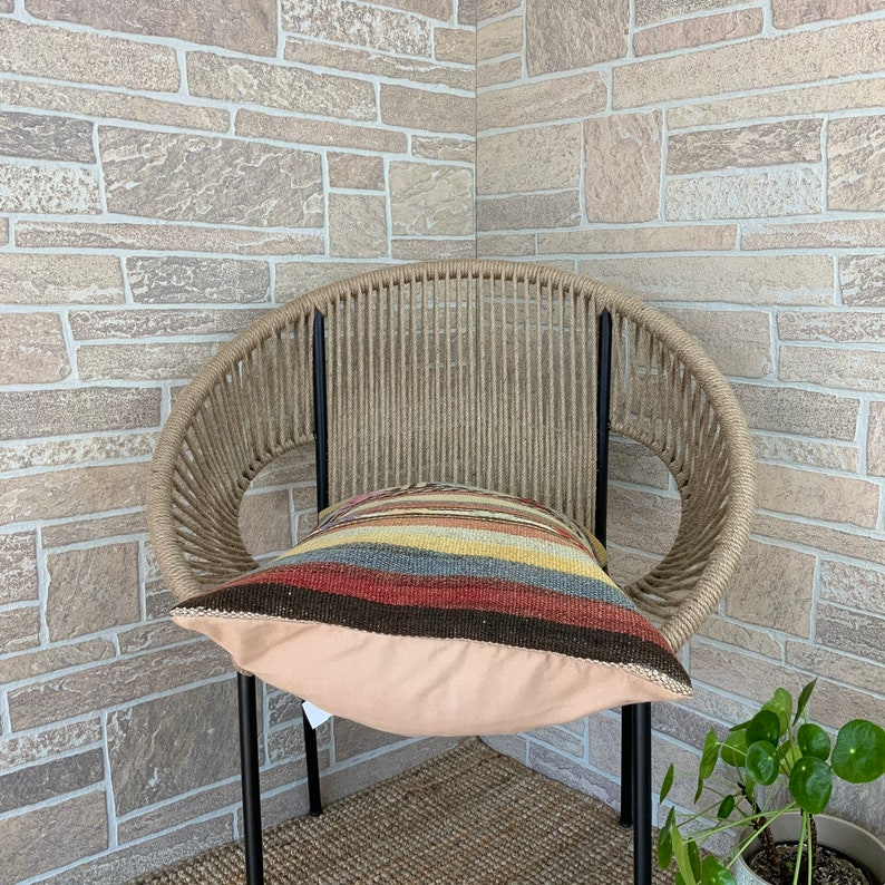 16x24 Vintage Boho Pillow 40x60 cm Accent Boho Kilim Pillow Wool Armchair Pillow with Invisible Zipper Accent Boho Decor Chair Pillow