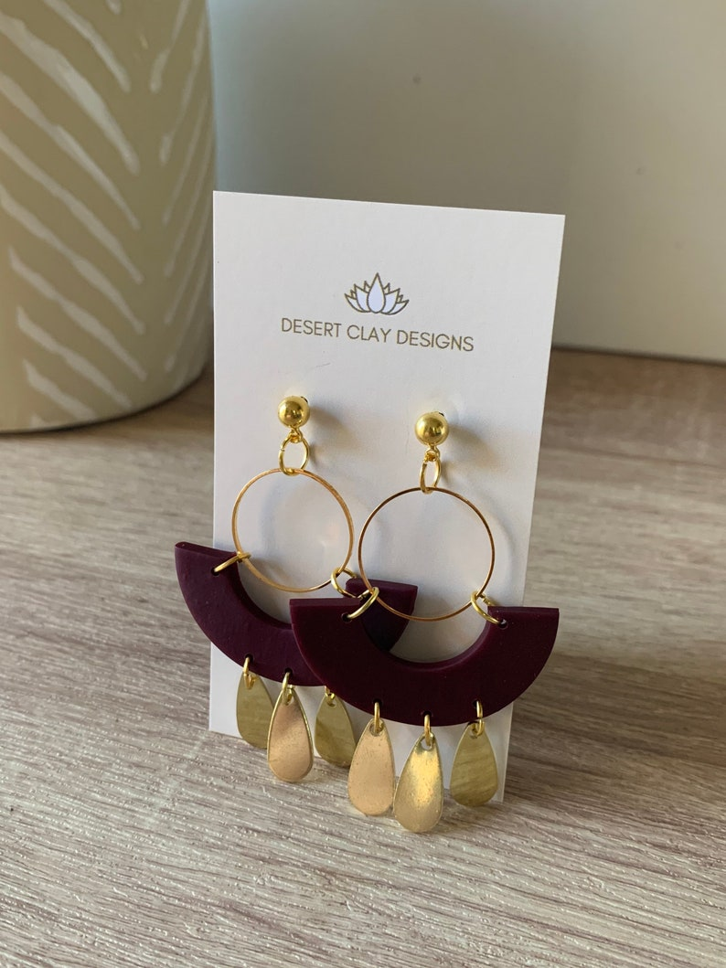Wine Clay Earrings Gif for Her Affordable Fashion Sage Brass Dangles Trending Polymer Clay Earrings Free Shipping
