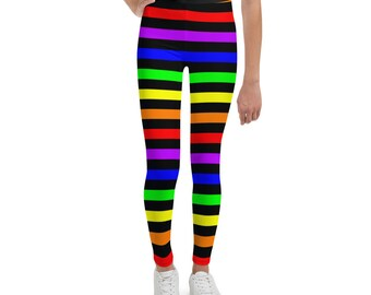 Youth Leggings with Rainbow Stripes