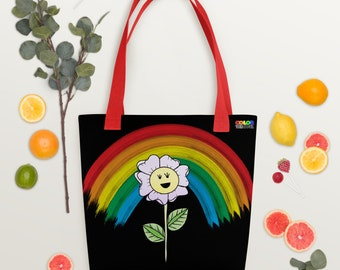 Tote Bag with Rainbow Flower