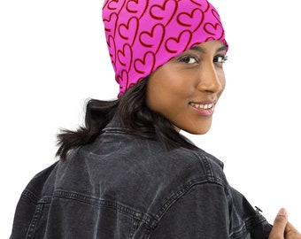 Pink Beanie with Open Hearts