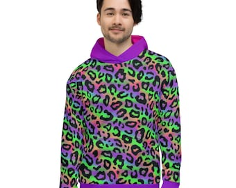 Colorful Hoodie with Leopard Pattern