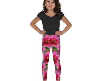 Kid's Leggings with Pink Floral Design