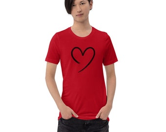 Red Unisex Cotton T-Shirt with Open Heart