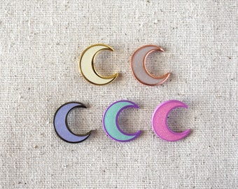 GLITTER Crescent Moon | Enamel Pin Lapel Badge Filler