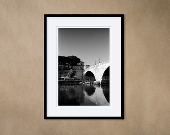 1 Framed Photography 30 x 40 cm - Bridge over the Tiber in Sunset, Rome, Italy - Silver Gelatin Print - Analog Photography