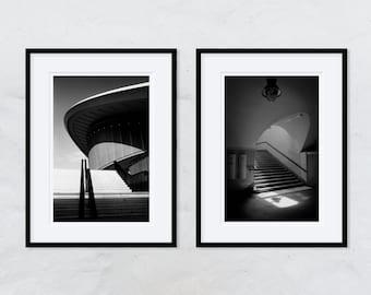 2 framed photographs, handmade in the darkroom. Berlin - House of World Cultures & Gleisdreieck Underground Station - analogue photography