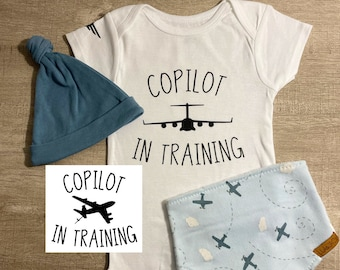 Copilot Training Baby ONESIE®, Air Force ONESIE®, Pregnancy Announcement, C17, C5, KC135, C130, RC135 Custom Airplane, Gender Neutral
