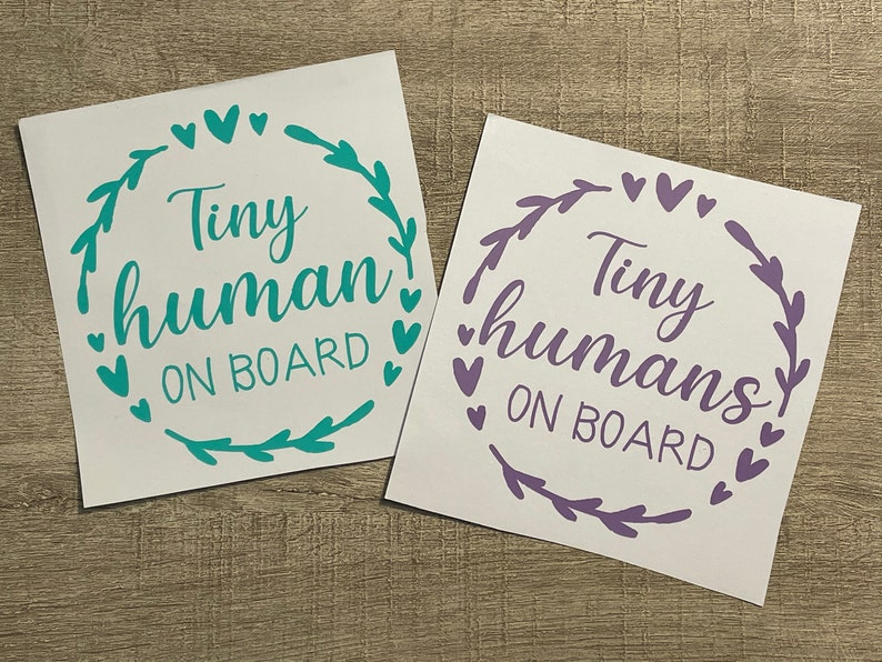 bumper sticker child in car custom color Tiny Human on board car decal Tiny Humans on board vinyl decal