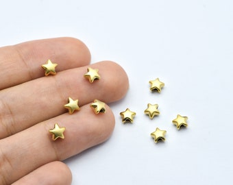 10pcs Stainless steel Tiny Star Beads Jewelry Making Supplies 8x9mm