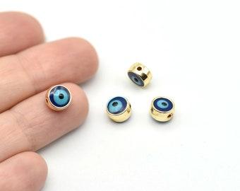 Bracelet Connector Navy Blue Enamel Evil Eye Charms Evil Eye Spacer Beads GLD076 7mm 24k Shiny Gold Plated Evil Eye Beads