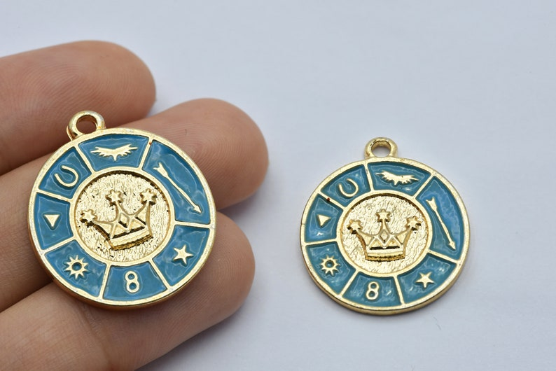 Crown Medallion GLD084 24x28.5mm Gold Plated Crown and Lucky Medallion Medallion Pendant Blue Enamel Pendant