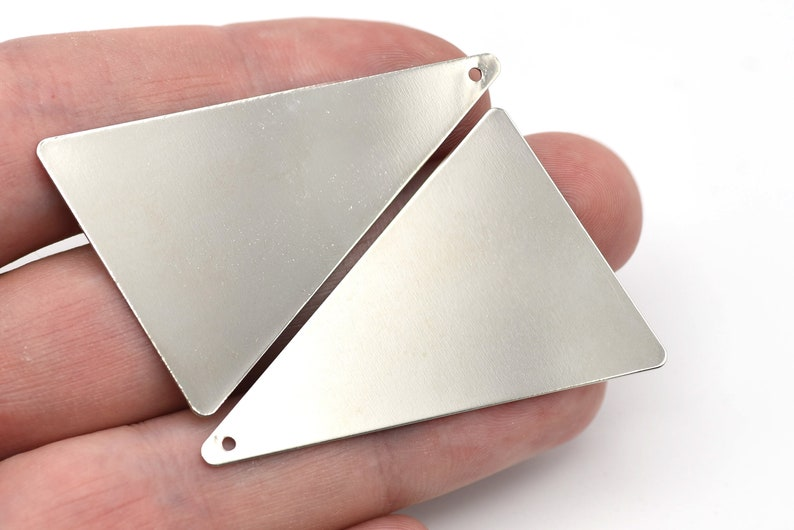 Stamping Blanks Findings 50x33mm Rhodium Plated Triangle Charm Brass Triangle Blanks Rhodium Plated Fan Charms Wholesale RBR191