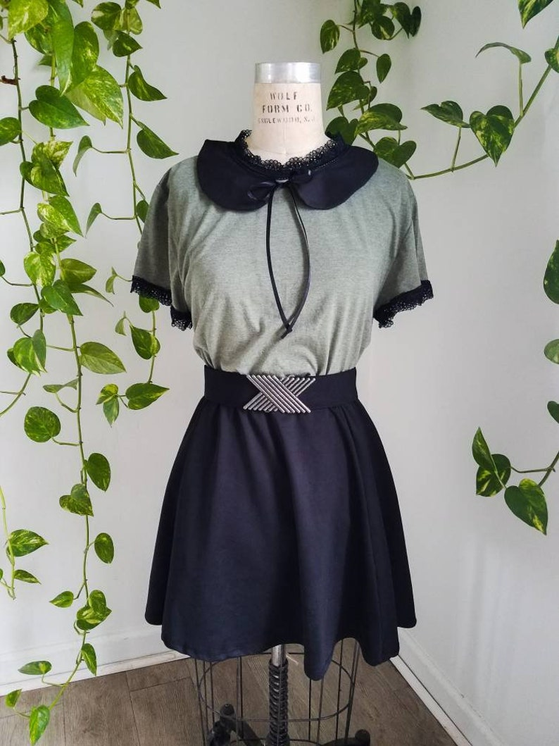 Dark Academia Clothing Green and Black PeterPan Collar Blouse Lace size S-4x Plus Size 1960s Retro Mod Style goth cottagecore shirt vintage