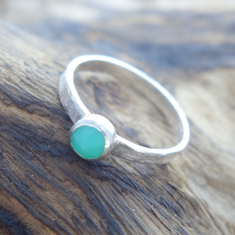 Rustic Chrysoprase Hammered Silver Ring Size P perfect gift for her textured contemporary jewellery