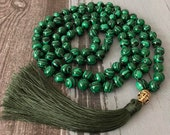 Malachite Gemstone Grounding Necklace-108 Mala Beads Tassel Necklace-Healing Calming Meditation Spiritual Buddhist Mala Necklace Yoga Gift