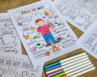 My Family, Coloring Activity, Homeschool Printable, Coloring Page for Kid, Preschool Worksheet, All About Me, Kindergarten Printable