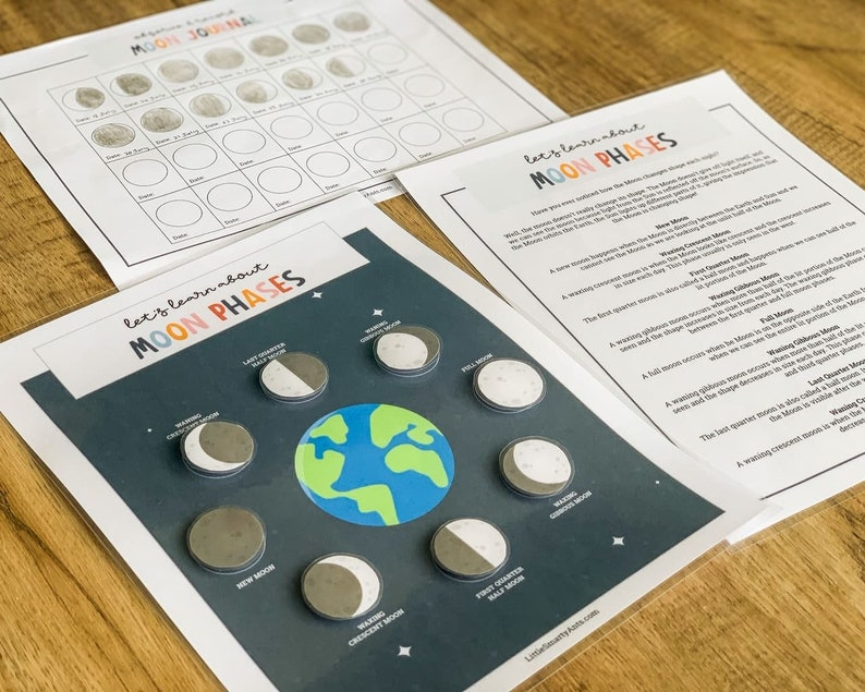 Moon Phases Printable Kids Moon Phase Learning Moon Phases image 0