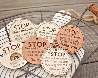 STOP Please don't do not touch my baby   Infant carrier hygiene sign   Newborn stroller card   Carrier Bag Tag