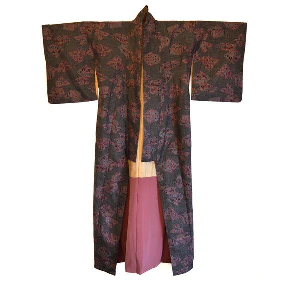 Vintage Japanese Kimono - Long Kimono - Kimono Gow