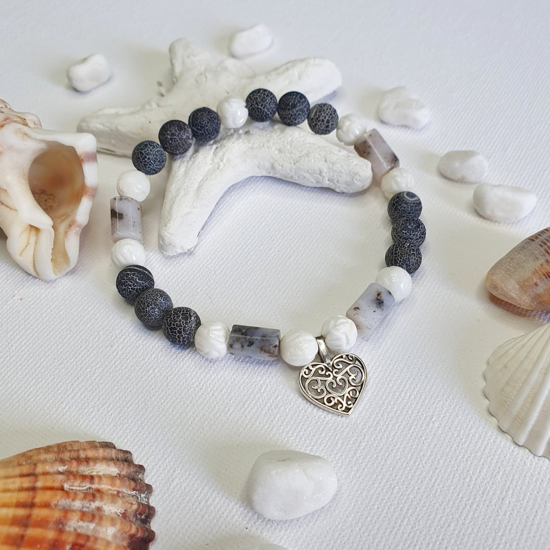 Natural Stone Beaded Bracelet Gemstone Anklet Agate Ankle Bracelet With Opal And Shells Shell Anklet Agate Beads Anklet Opal Bracelet