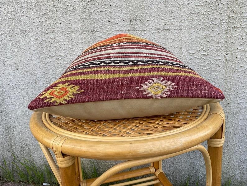 home decor 40x40 cm Orange-Green Kilim pillow decorative throw pillow bohemian carpet pillow 16x16 kilim pillow kilim rug