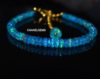 Blue Opal Silver Bangle Bracelet,Protection Bracelet,blue opal Jewellery,Opal bracelet,Opal jewelry,Charm bracelet,Wedding gift B-2